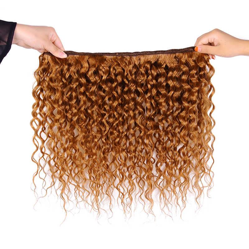 Ienvy renkli #30 brezilyalı saç örgü demetleri zencefil sarışın su dalgası demetleri insan saçı altın sarışın demetleri 1 3 4 adet olmayan remy