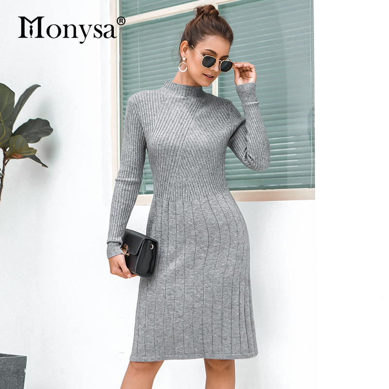 Casual Knitted Sweater Dresses Women New Arrival 2019 Autumn Long Sleeve Dress Ladies Knee Length Dress Winter Clothes 39