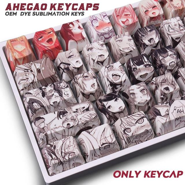 108key Ahegao OEM PBT Keycaps Dye Sublimation Japanese Ukiyo e Anime keycap For Cherry Gateron Kailh Switch Mechanical Keyboard