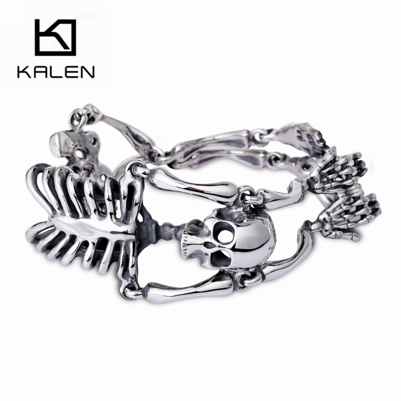 KALEN Punk Rock Gothic Stainless Steel Skull Body Bracelet For Men Link Chain Male Biker Jewelry Men's Wristband Bracelets 2020