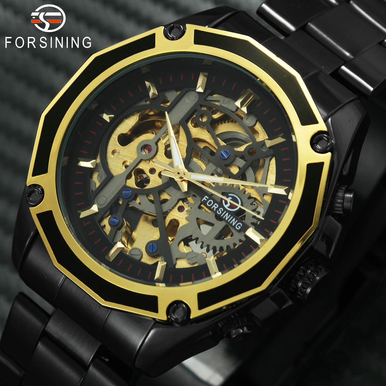 FORSINING Golden Top Brand Luxury Auto Mechanical Watch Men Stainless Steel Strap Skeleton Dial Fashion Business Wristwatches 1