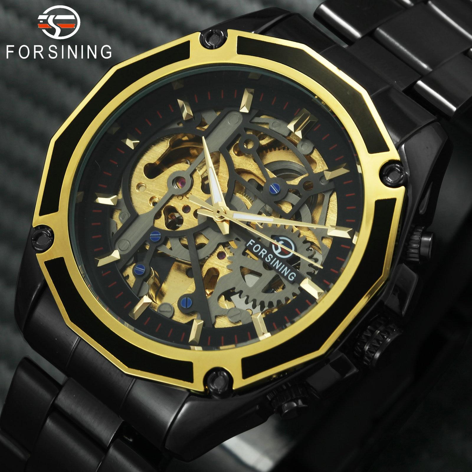 FORSINING золотые Лидирующий бренд Роскошные Авто механические часы для мужчин Нержавеющая сталь ремешок Скелет циферблат мода Бизнес наручны...