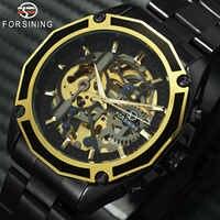FORSINING doré Top marque de luxe Auto mécanique montre hommes en acier inoxydable bracelet squelette cadran mode affaires montres