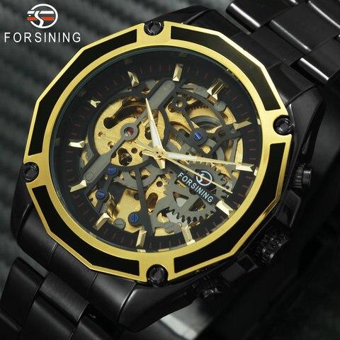 Marca de Topo Pulseira de Aço Forsining Ouro Luxo Automático Relógio Mecânico Masculino Inoxidável Esqueleto Dial Moda Negócios Relógios Pulso