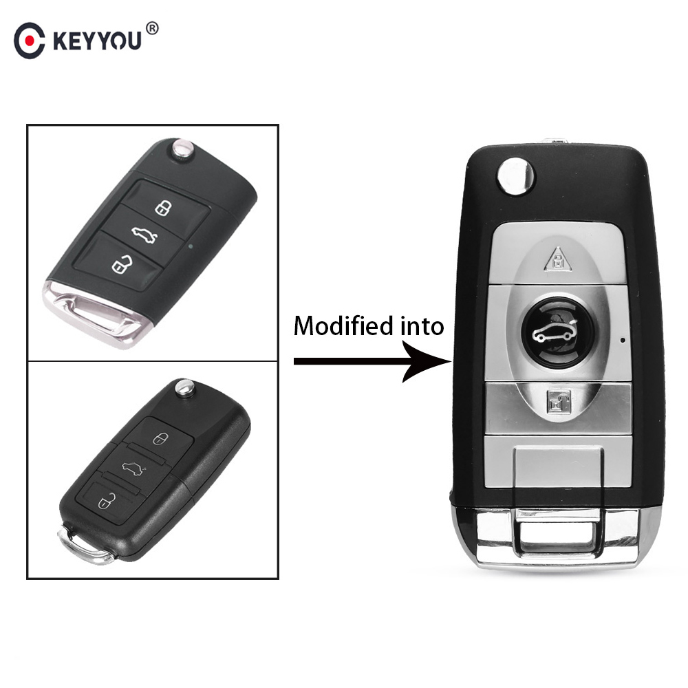 KEYYOU 3 BT Modified Folding Flip Car <font><b>Remote</b></font> <font><b>Key</b></font> Shell Case With Blade for Volkswagen VW <font><b>Golf</b></font> <font><b>7</b></font> Jetta Passat Beetle Polo Bora image
