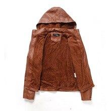 Women's PU Faux Leather Jacket Cashmere Hood Hat Detachable Short Leather Jacket Fashion Warm MotorcycleJacket Outwear Female