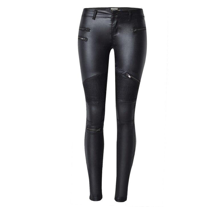 Женские брюки из искусственной кожи, эластичные кожаные брюки на молнии, 2018 Leren Broeken Брюки       АлиЭкспресс