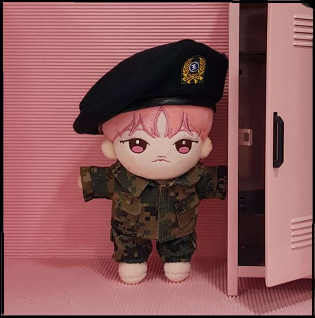[MYKPOP]KPOP Doll's Clothes And Accessories: ARMY UNIFORM For 20cm Dolls KPOP Fans Collection SA19112704