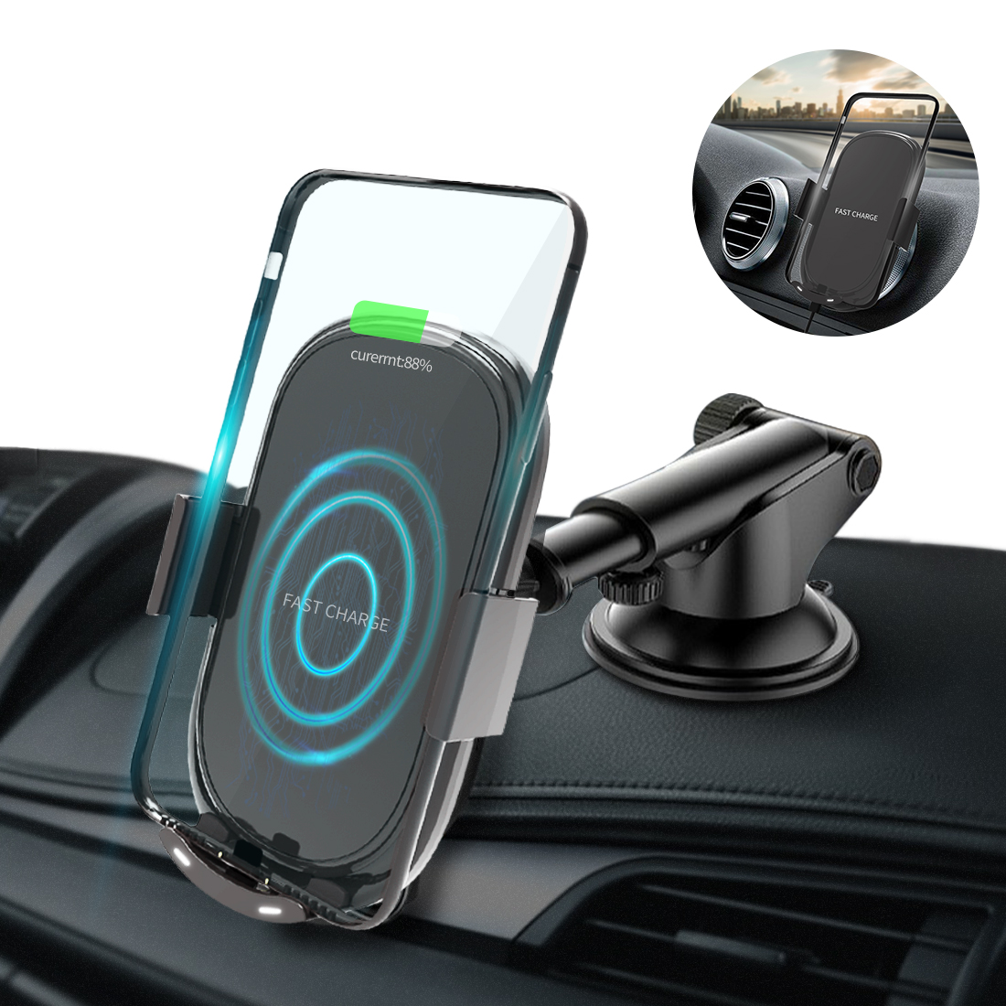 Car Wireless Charger For iPhone 8 Plus X XS Max Phone Qi Wireless Charging Car Phone Holder Stand For Samsung S9 Note 8 S7 Edge