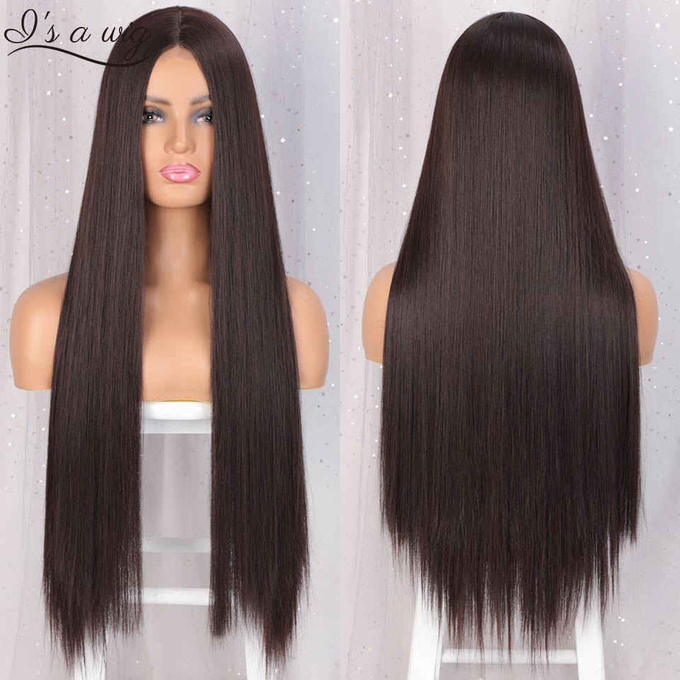 I's A Wig Dark Brown Synthetic Wigs For Women Long Straight Black Ombre Red Wig Natural Middle Part Wig Heat Resistant Fiber