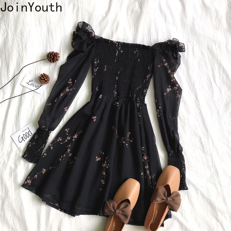 Joinyouth Chiffon Dress Women Korean Print Floral Sweet Vestidos Spring Off Shoulder High Waist Fashion Dresses 2020 New J433