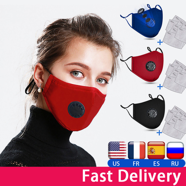 Cloth Face Mask Fashion Unisex Cotton Breath Valve PM2.5 Mouth Mask Anti-Dust Anti Pollution Activated carbon filter