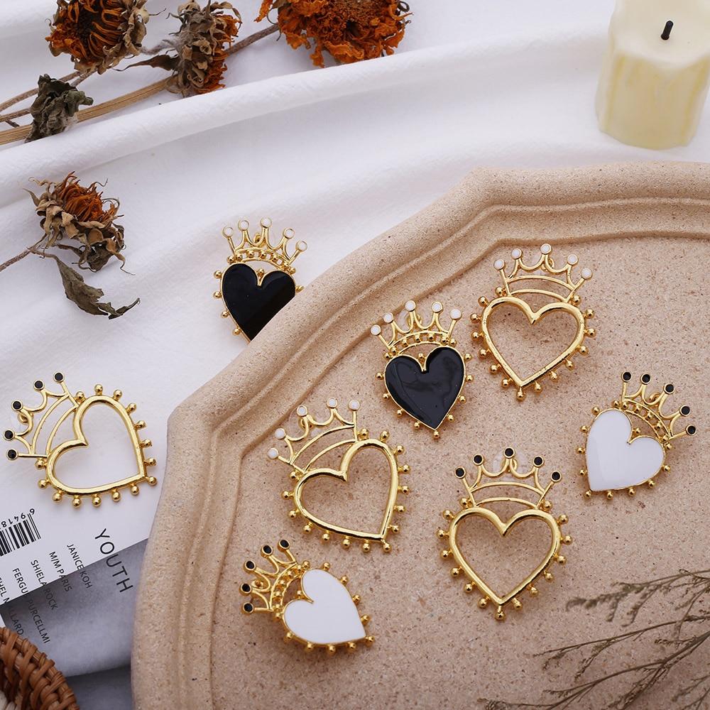 2020 Fashion Enamel Crown Heart Stud Earrings For Women Girl's Gold Hollow White Black Heart Earring