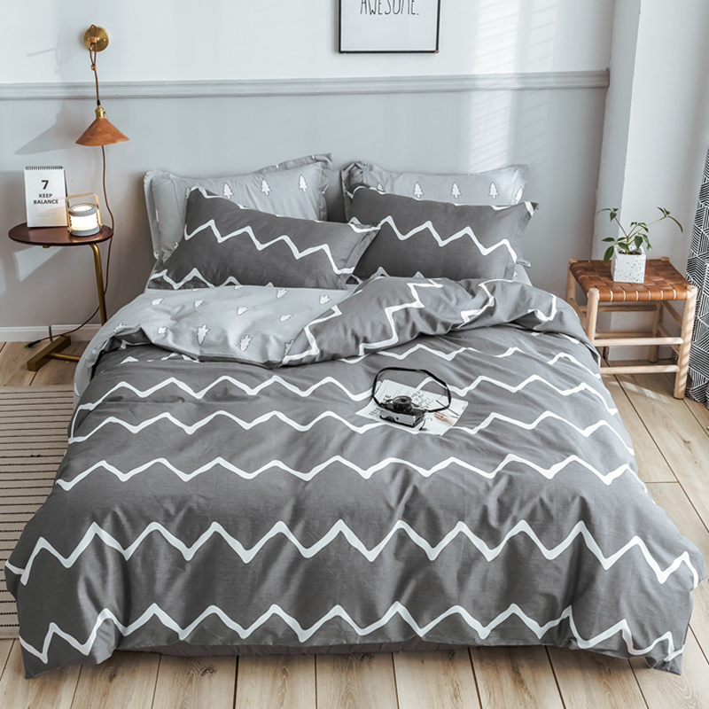 Grey Color Stripe Pure Cotton Bed Cover Sets Twin/Full/Queen/King/Super King Size Quilt Cover Bed Sheet Pillowcase Bedding Set