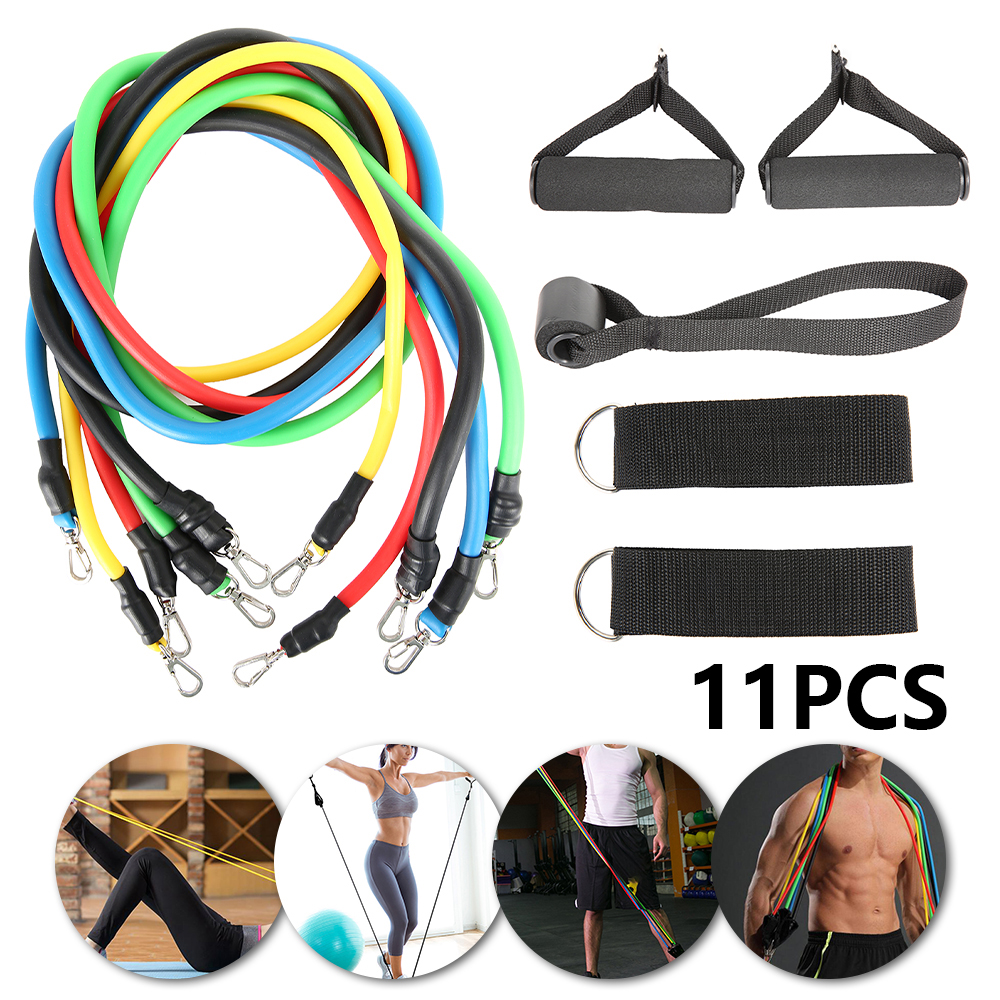 11pcs/set Pull Rope Fitness Exercises Resistance Bands Yoga Latex Tubes Crossfit Stretch Training Home Gyms Workout Elastic Band