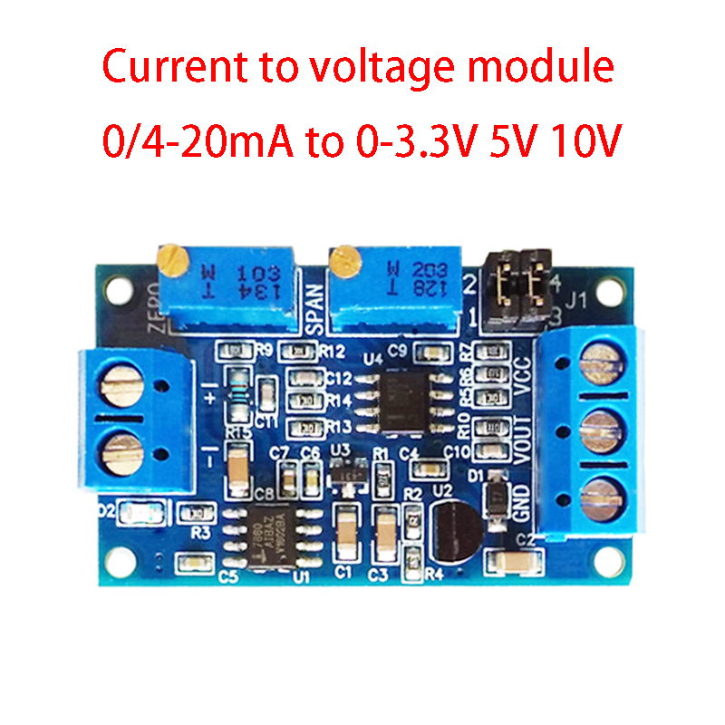 Current to Voltage Module 0/4-20mA to 0-3.3V 5V 10V Voltage Transmitter Signal Conversion Conditioning