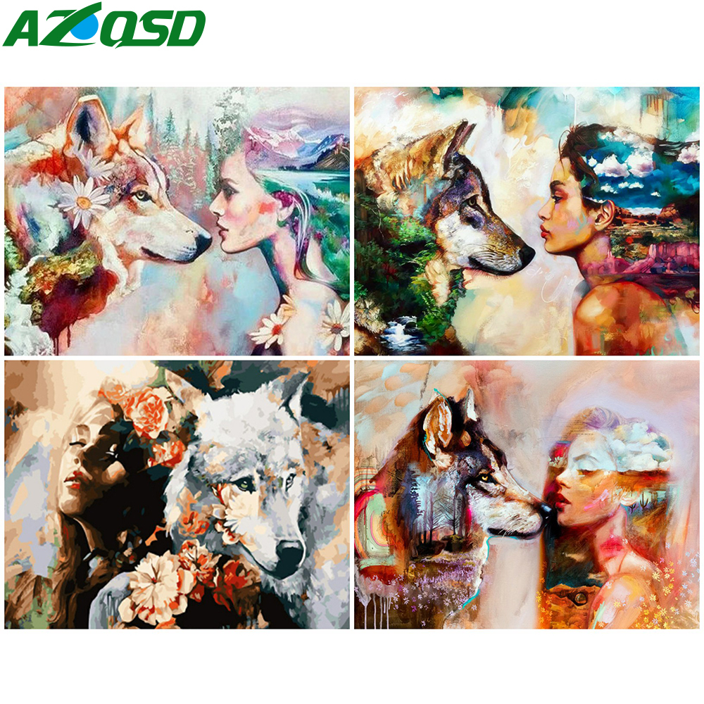 AZQSD Oil Painting By Numbers Wolf Girl DIY Colorful Paint Handmade Gift Unframe Drawing By Numbers Animal Home Decoration