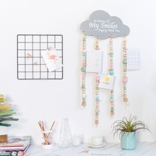 1PCS INS Nordic Cloud Pendants Wooden Hanging Ornaments Crafts Baby Shower Birthday Party Children Room Wall Decor Raindrops(China)