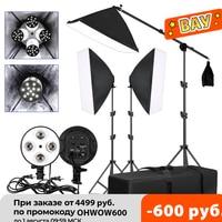 Kit de iluminación Softbox para estudio fotográfico, bombillas LED de 20W, 5500K, con soporte de luz y bolsa de transporte, 9 Uds.