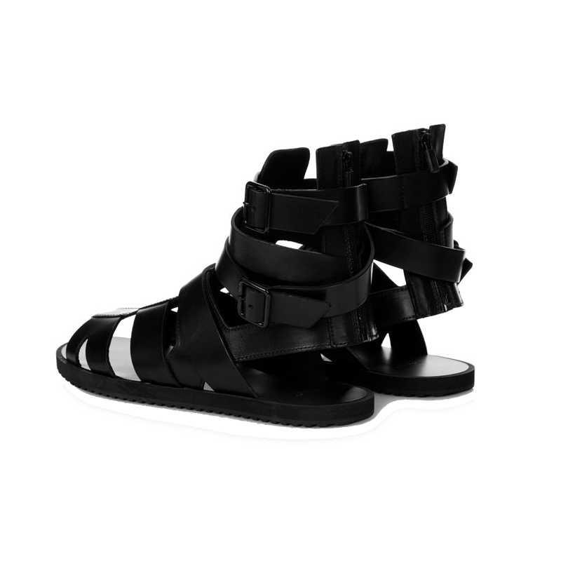 Siyah sandalet erkekler 2020 yaz toka sandalet botları hakiki deri gladyatör sandalet yüksek üst plaj Sandalia slaytlar artı boyutu 45