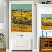 Японский хлопок лен Скандинавское искусство картина маслом дверной