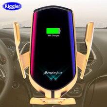 Otomatik 10W araba kablosuz şarj cihazı tipi C huawei mate30 pro samsung S10 + Qi kızılötesi indüksiyon araç telefon tutucu