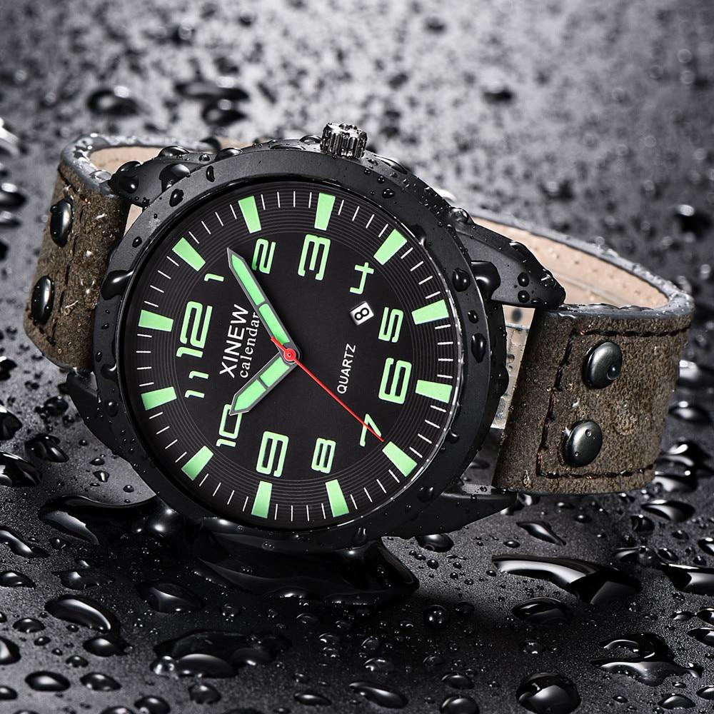 XINEW Watch Men Leather Strap Simple Calendar Luminous Dial Outdoor Men's Quartz Watch Men's Quartz Watch Relogio Masculino