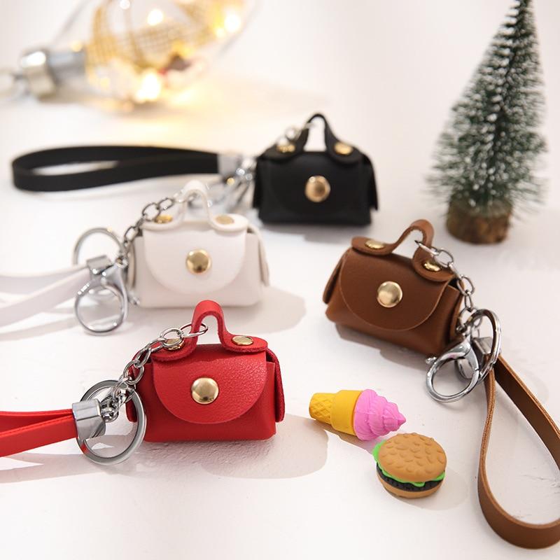 Creative Mini Pu Hasp Earphone SD Card Coin Storage Bag Pouch Women Coin Purse Wallet Keychain Coin Case Hand Strap Box