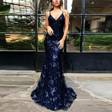 2020 New Summer Women Sexy Sequined Vintage Spaghetti Strap Sleeveless Deep V-neck Open Back Party Mermaid Maxi Dress#J30(China)