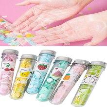 Disposable Mini Hand Washing Tablets Travel Outdoor Portable Barrel Water Soap Flower Paper Soap Slice Case Random Color