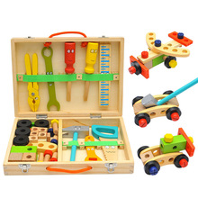 Baby Woodworking Toy Learning Educational Wooden Tool Toy Kids Handle Tool Box Games Screw Assembly Carpent Toy for Children Boy