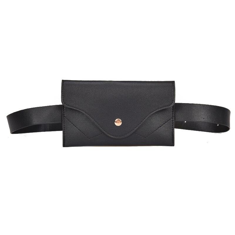 ABZC-Fashion Women Waist Bag PU Leather Belt Bag Pure Color Pack For Women Female Vintage Waist Pouch Purse Phone Pouch Black