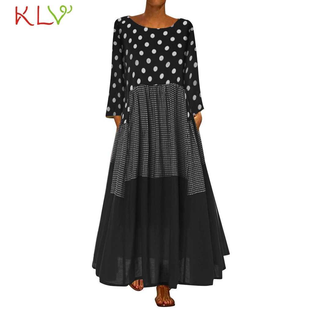 Женское винтажное платье в горошек с принтом бохо, элегантное платье макси с длинным рукавом, Зимние Повседневные Вечерние платья 2019, большие размеры, Vestidos, одежда 19Jl