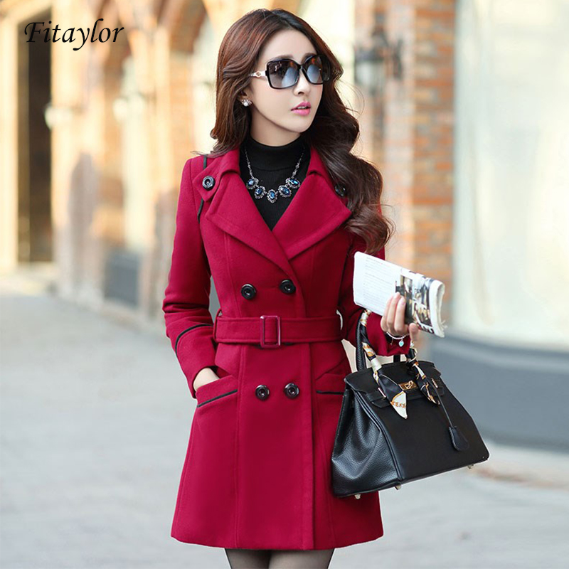 Fitaylor Women  Woolen Coat Autumn Winter Double Breasted Wool Blend Warm Clothes Plus Size 3XL Female Slim Overcoat
