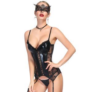 Image 1 - Corset women   steampunk корсет lace black sexy bustier corset waist trainer sexy lingerie bodysuit slimming underwear corselet