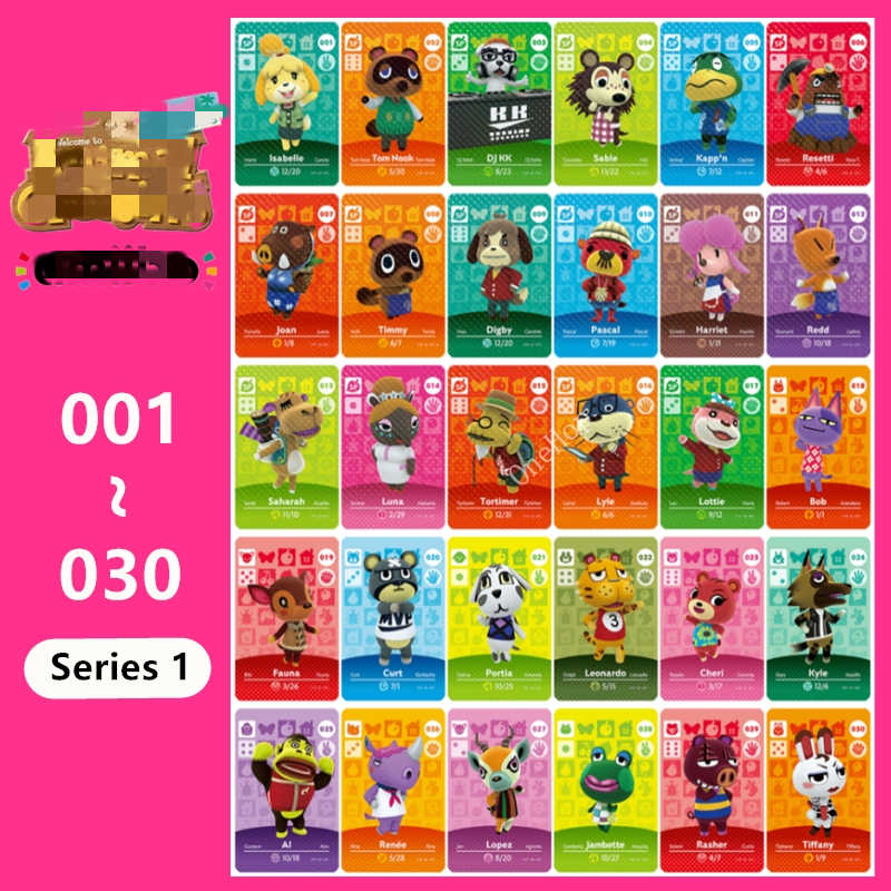 Animal Croxxing 001 ~ 030 NFC Card Tag Amxxbo Card Series 1 untuk NS Switch 3DS Ntag215 New Hot Villager