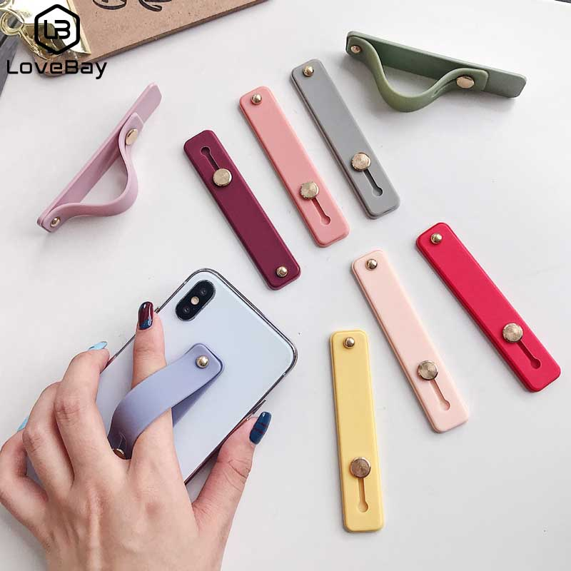 Lovebay Candy Color Wrist Band Hand Band Finger Grip Mobile Phone Holder Stand Universal Phone Socket Holder For IPhone Xiaomi