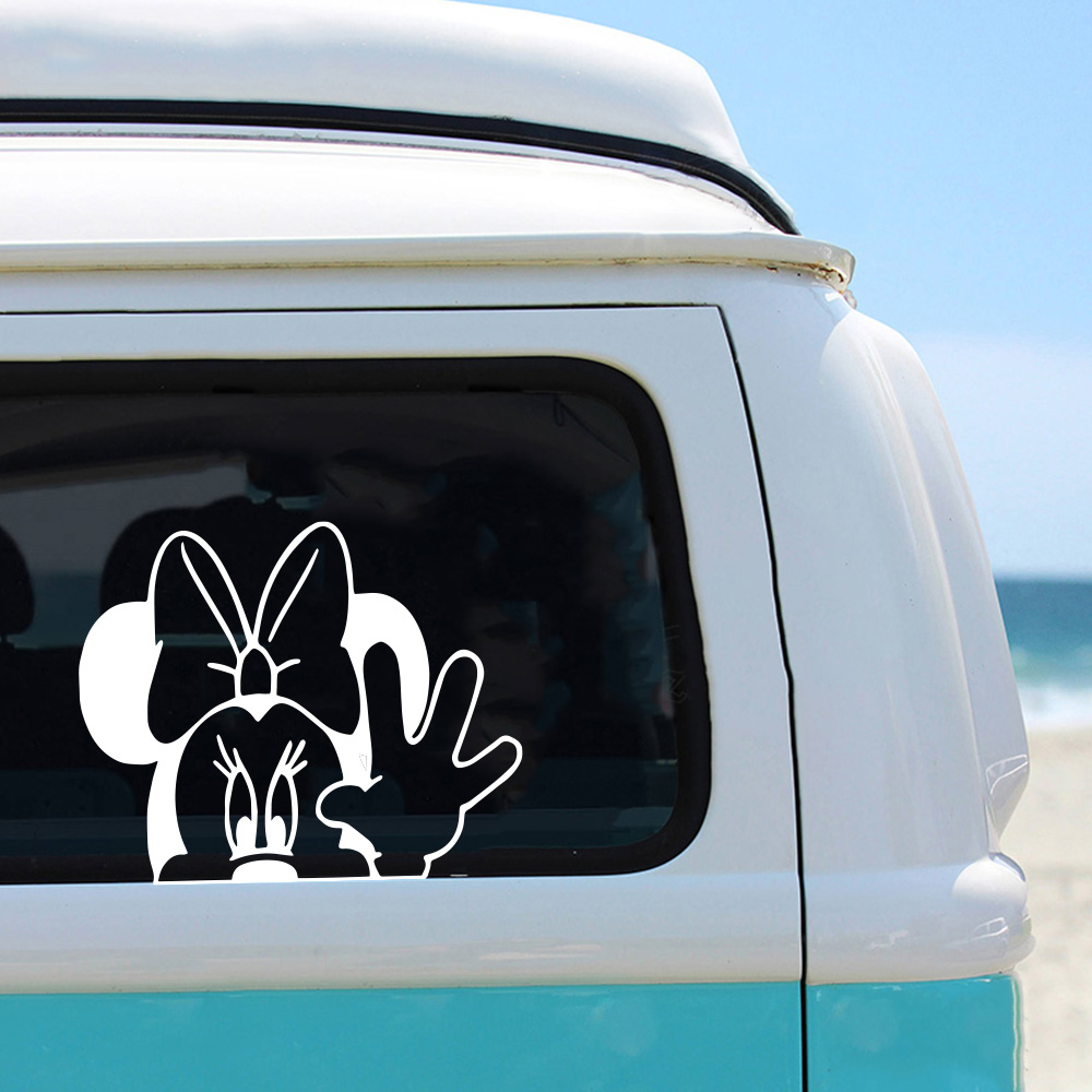 Creativity Mickey Mouse Car Stickers Voiture Personalized Funny Minnie Sticker For Car Decal Cover Scratches Motorcycle Decals