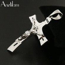 Anztilam hip hop moda cruz pingente colar venda quente colar para mulher homem jesus cruz pingente colar ouro cor preta