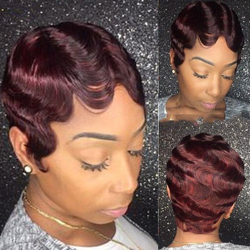 Sapphire Short Wig Pixie Wave Human Hair Wigs For Black Women Brazilian Remy Hair Ocean Wave Short Bob Human Hair Wig