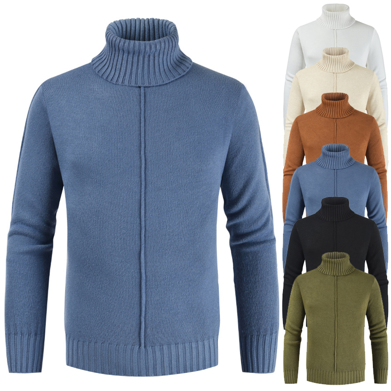 New Winter Men'S Sweater Men'S Turtleneck Solid Slim Fit Warm Turtle Neck Men Fashion Casual Sweater Slim Fit Knitted Pullovers