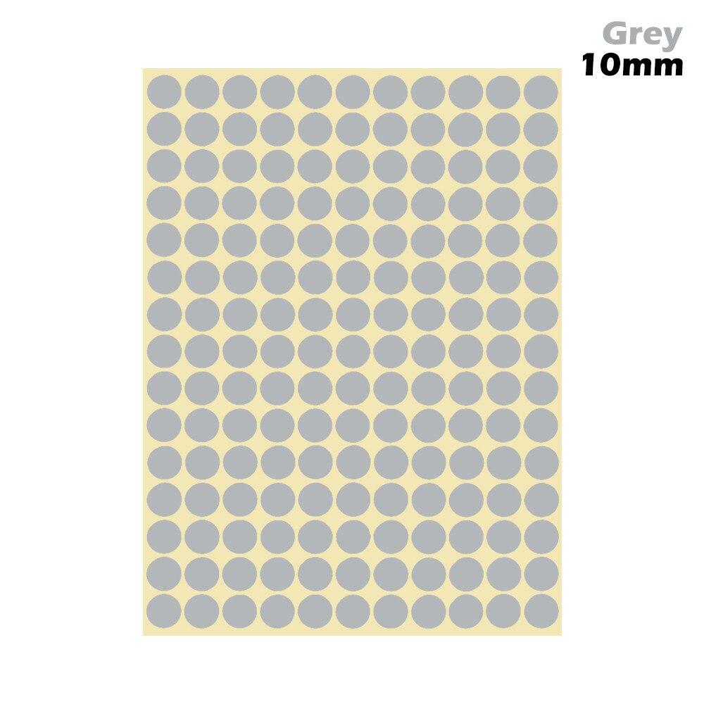 1 лист 10 мм/19 мм цветные наклейки в горошек круглые круги точки бумажные клеящиеся этикетки офисные школьные принадлежности - Цвет: grey 10mm