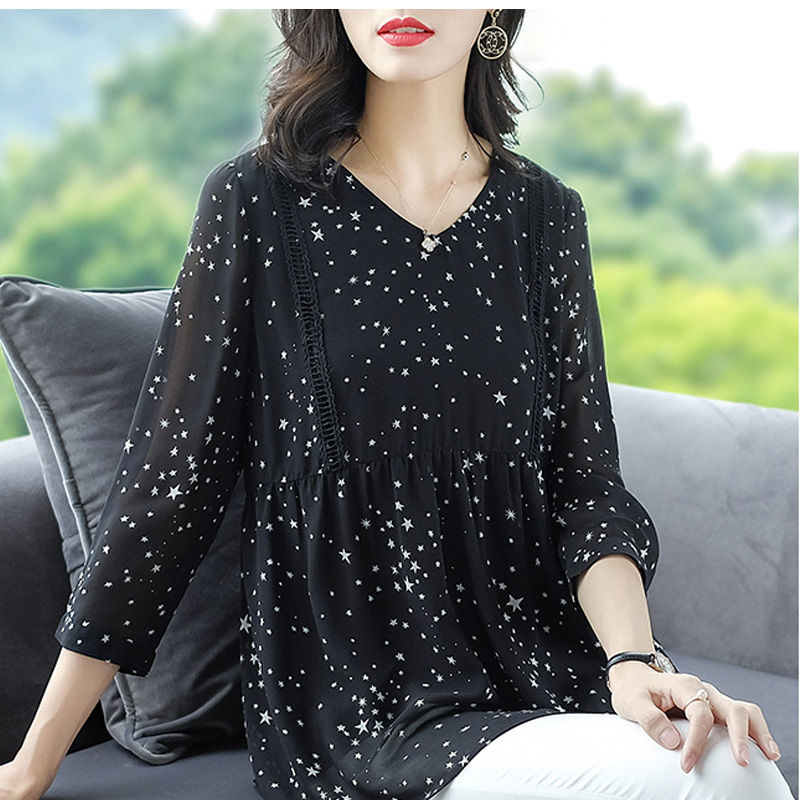 Women's Spring Summer Style Chiffon Blouse Shirt Women's Printed Long Sleeve Loose V-neck Elegant Casual Tops DD8428 7