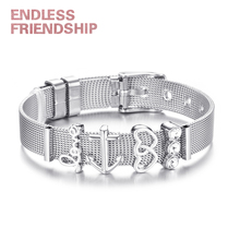 Hight Quality Stainless Steel Mesh Bracelet with 4pcs Slide Love Heart Charms Fits Brand Bracelets For Women DIY Jewelry new design 2019 hot silver mesh keeper bracelet with heart anchor slide charms stainless steel brand bracelets for women