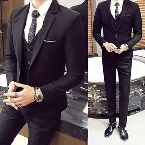 Suit-Set Blazer Pants Vest Oversize Office Wedding Formal Men's Plus-Size Luxury