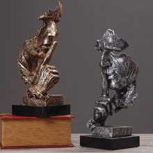 Statue d'or en résine, décoration de maison, Silence abstrait, Sculpture artistique, Figurine de salon, décoration de bureau, cadeau d'anniversaire et de mariage