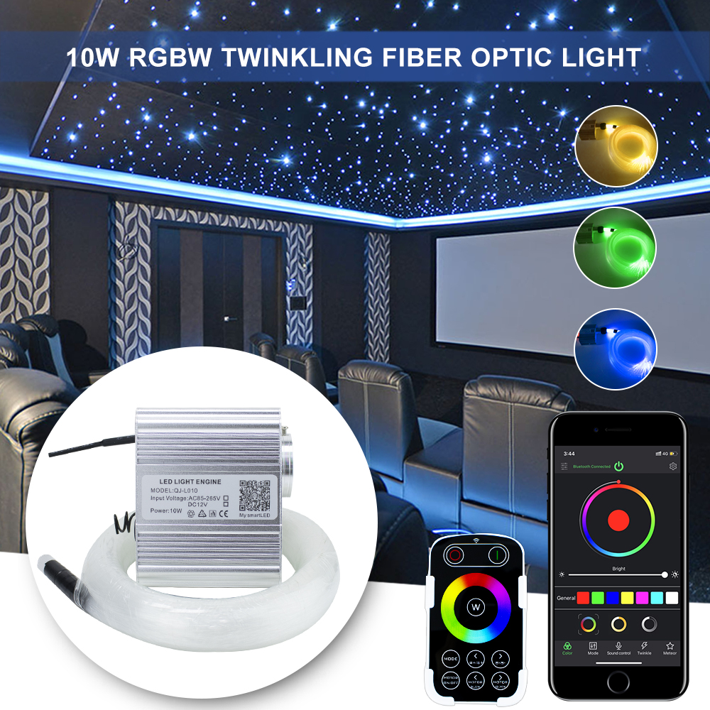 Fiber Optic Light 10W RGBW Twinkle Bluetooth APP  Control & Touch RF Control Car Starry LED Light Kid Room Ceiling Lighting
