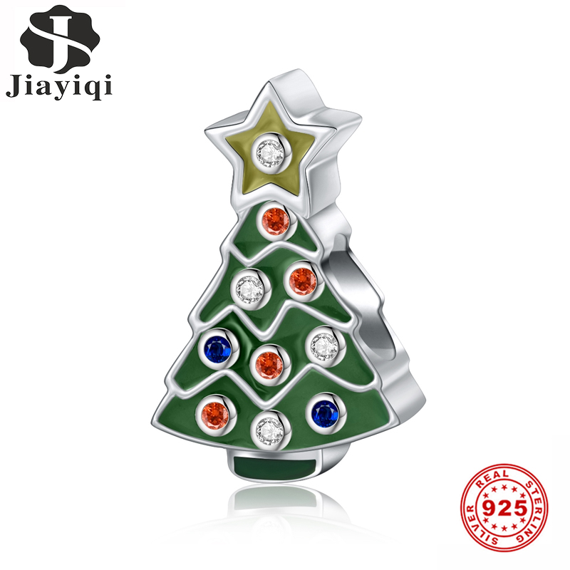 Jiayiqi Christmas Tree Charms 925 Sterling Silver CZ Beads Fit Women Pandora Charms Silver 925 Original Fine Christmas Jewelry