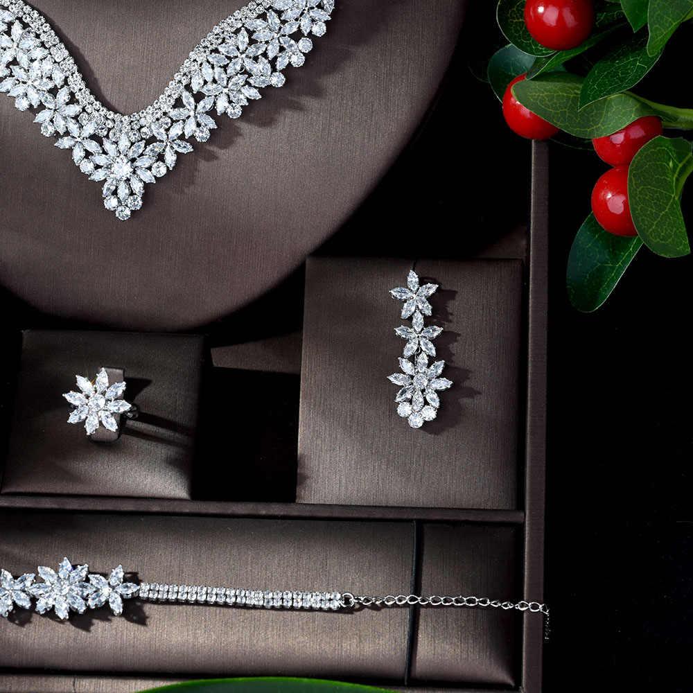 HIBRIDE di Modo Zircone Cubico di Nozze Insieme Dei Monili Per Le Donne Accessori Di Cristallo del Vestito di Vendita Calda 4pcs Set Set di Gioielli Set N-917