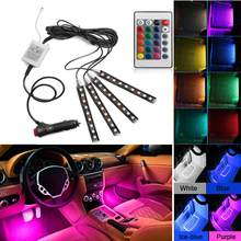 4 Pcs Mobil Interior Lampu RGB LED Strip Lampu LED Strip Lampu Warna Lampu Mobil dengan Remote Mobil Styling Dekoratif suasana 12V(China)